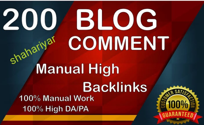 I will provide 200 mannually blog comments backlinks high DA PA