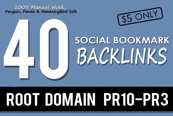 I will create manually 40 pr10 social bookmark backlinks