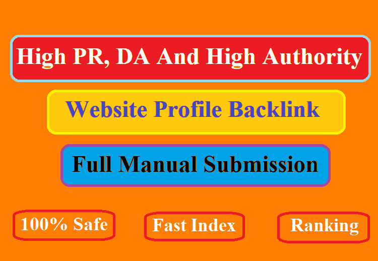I will do 100 high da,  PR and authority profile backlink