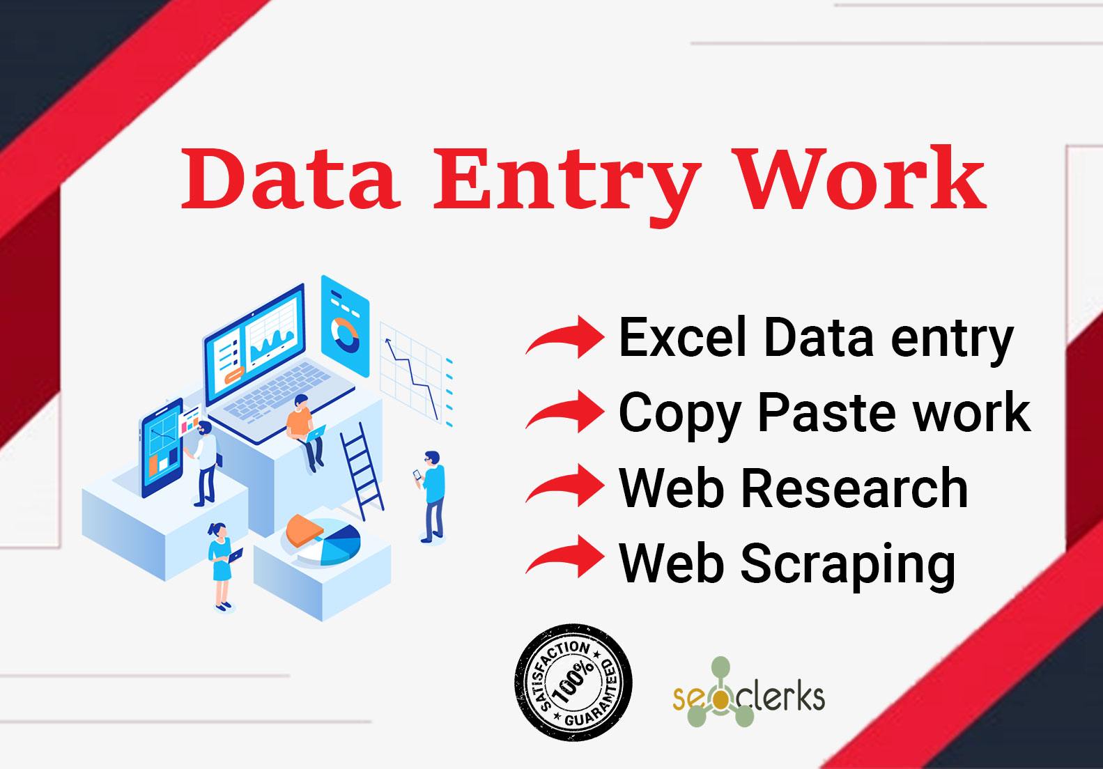 I will do Perfect data entry,  web scraping,  web research,  typing work