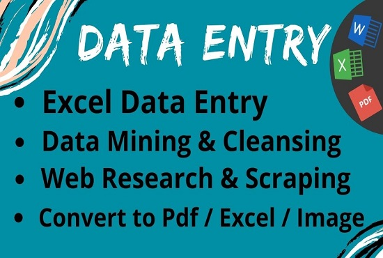 I will do excel data entry,  copy paste tasks,  typing,  data entry jobs