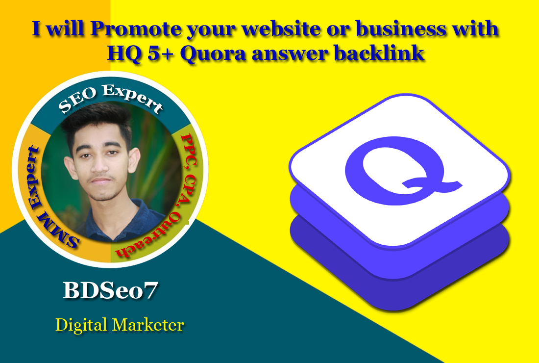 I will Promote your website or business with HQ 5 Quora backlink