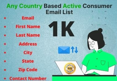 Take your 1K valid any country active consumer email list for email marketing within time