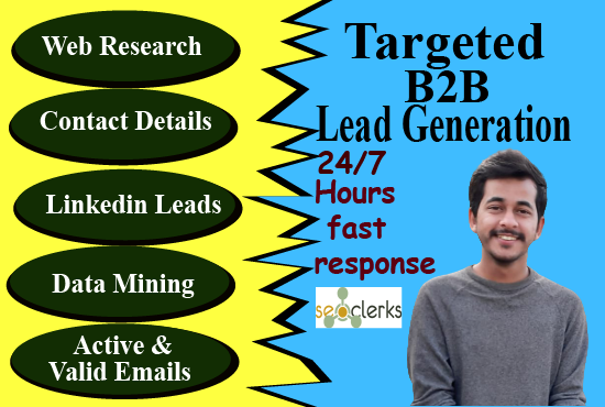 I will do B2B lead generation and 100 percent targeted contacts