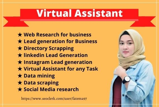 I will do diligent virtual assistant for data entry,  lead generation