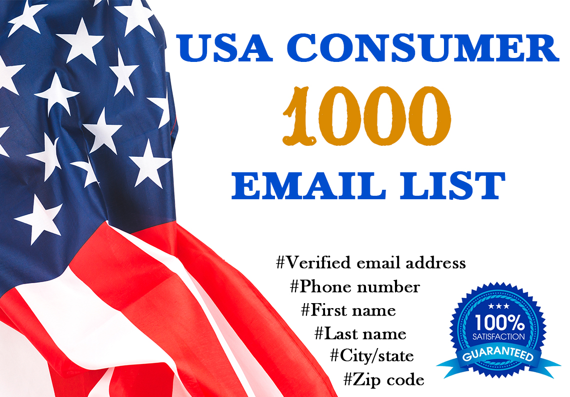 1000 Verified Consumer Email List Based on USA