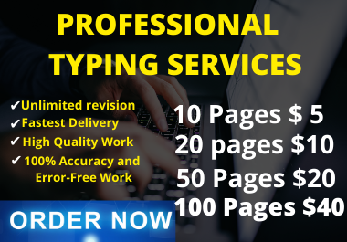 Professional super fast typing job, data entry work, PDF to word