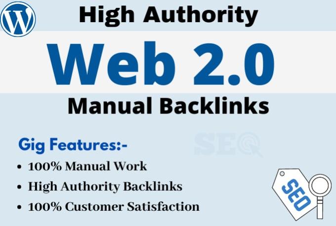 I will create 30 high quality web 2 0 backlinks manually