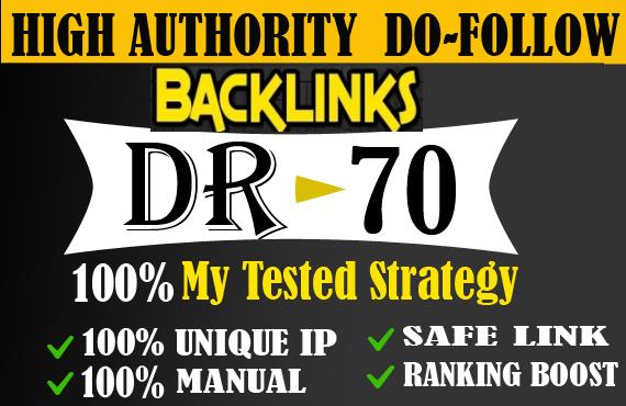 Provide DR 50 to 70 backlinks off page seo for google ranking