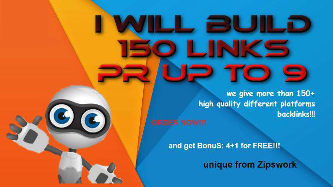 build 150 links pr up to 9 seo backlinks