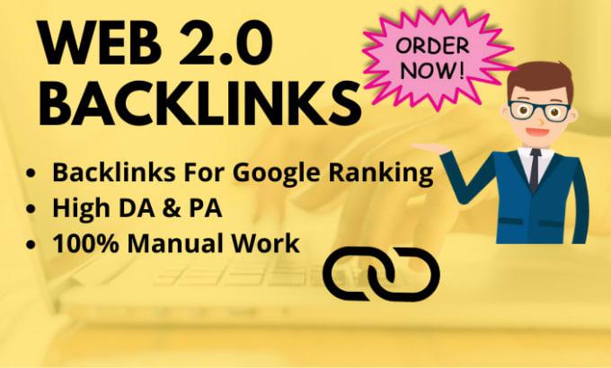 Create 50 high quality web 2 0 backlinks manually