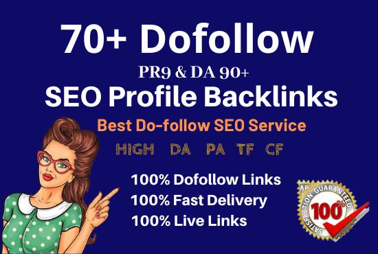 Manually create 70 pr9 high authority dofollow SEO profile backlinks