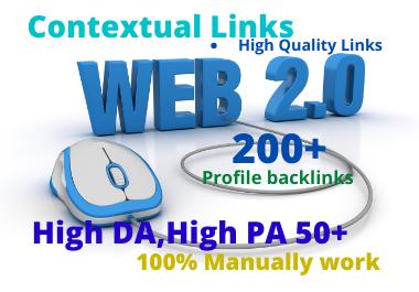 I will create 100 high DA super authority web 2.0 backlinks.
