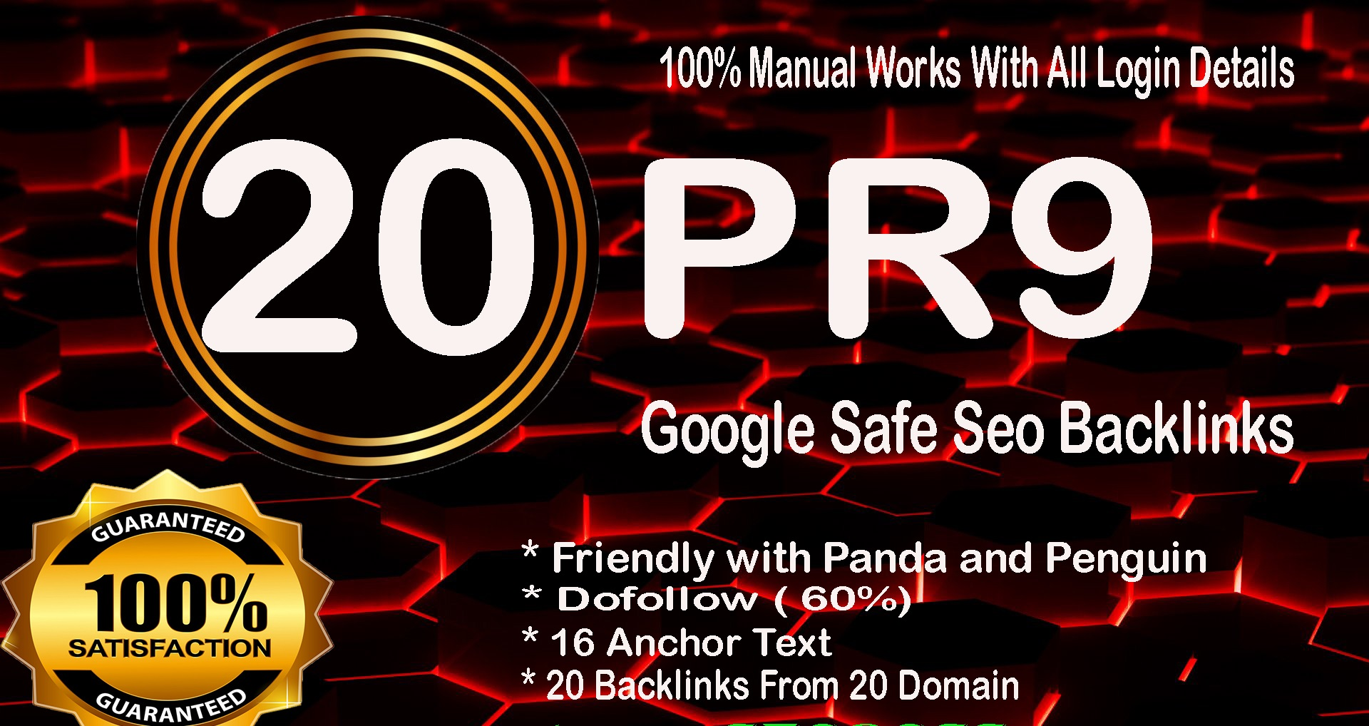 Skyrocket your SEO with 20 pr9 High DA 80+ Google safe Backlinks