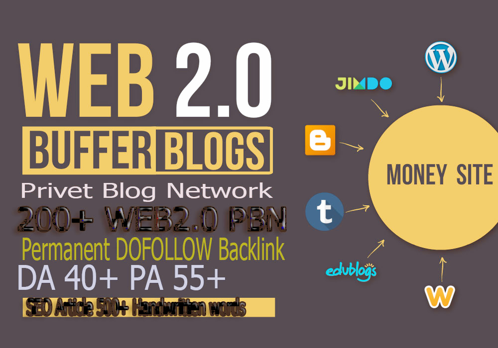 Construct premium 200+ PBN Backlink landing page web 2.0 with perpetual dofollow Trustfollow