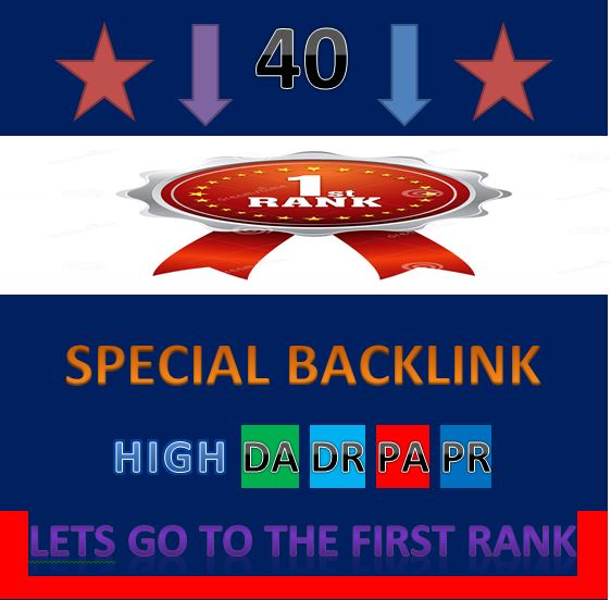 i will do 40 manually high DA DR PA PR backlink for high seo rank and google rank.1.