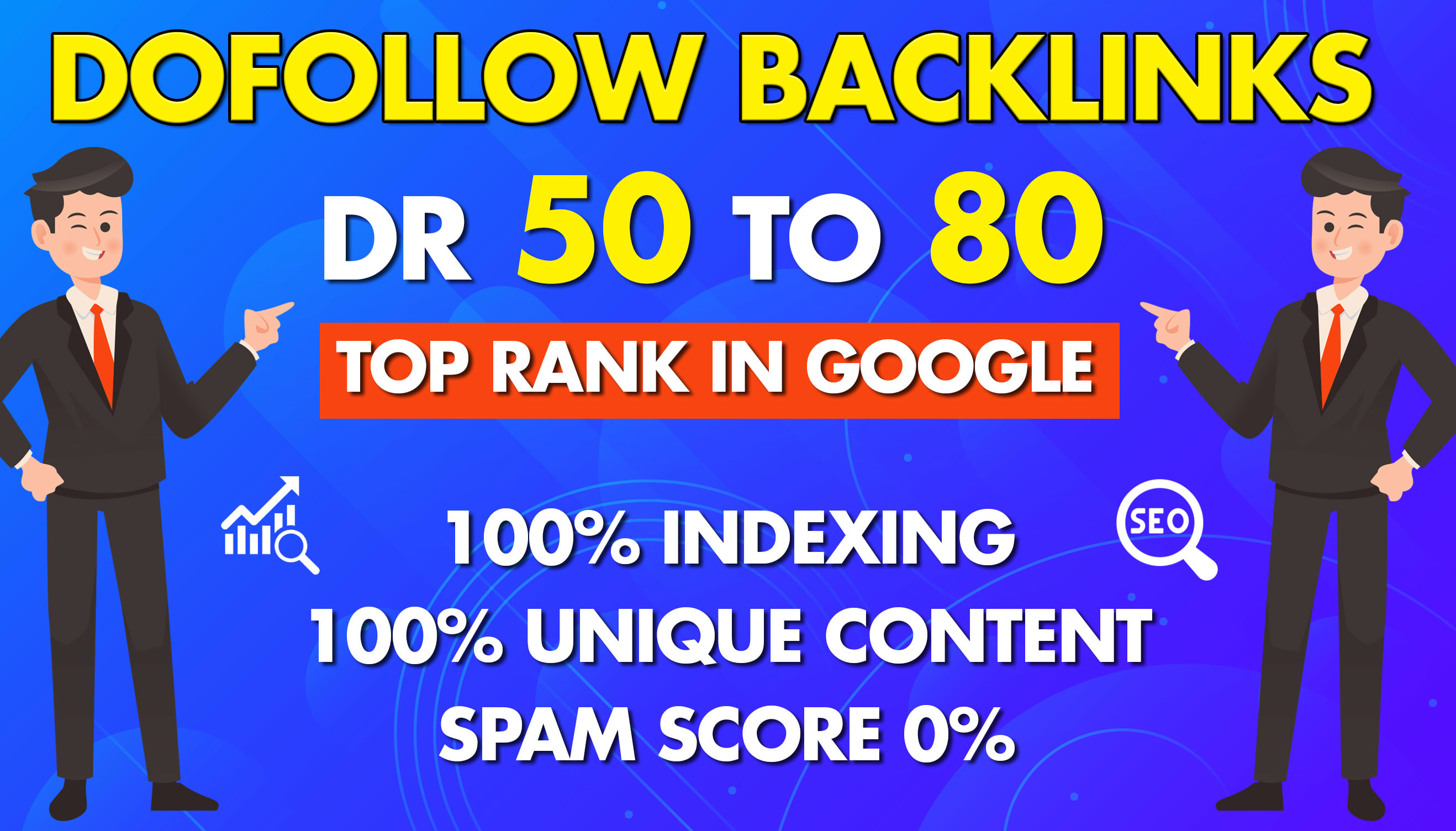 I will make dr60 to 80 plus dofollow backlinks