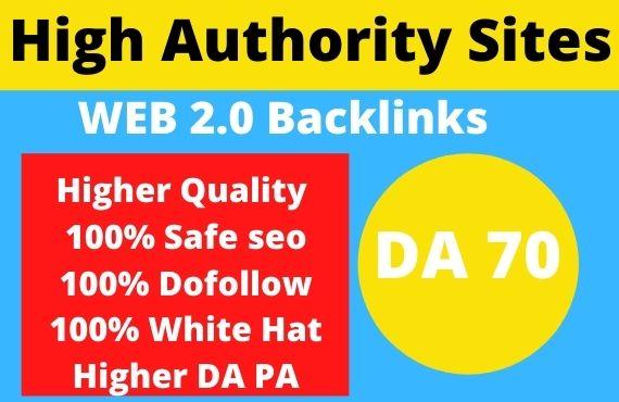 Build 50 PBN Web 2.0 Backlinks on high authority sites Rank on google