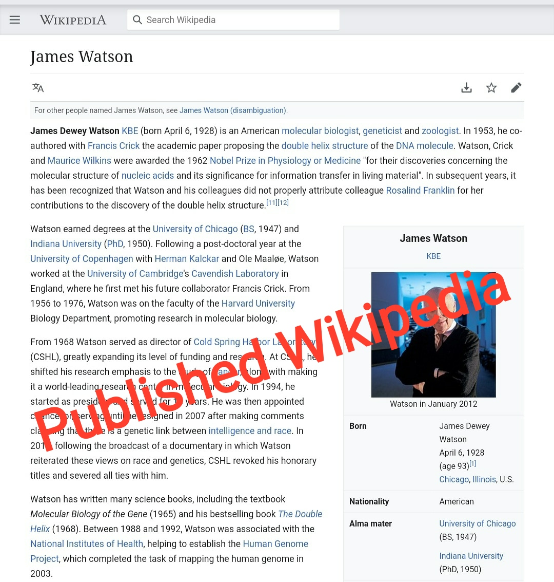 Wikipedia published page creation