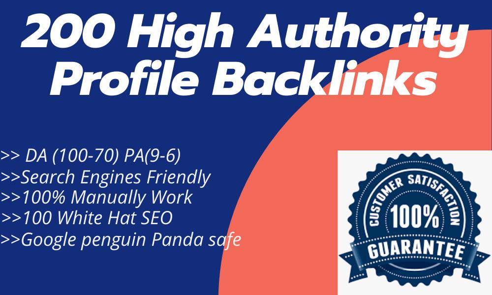 I Will Manually Do 200 High Domain Authority Do-follow Profile Backlinks for Website SEO