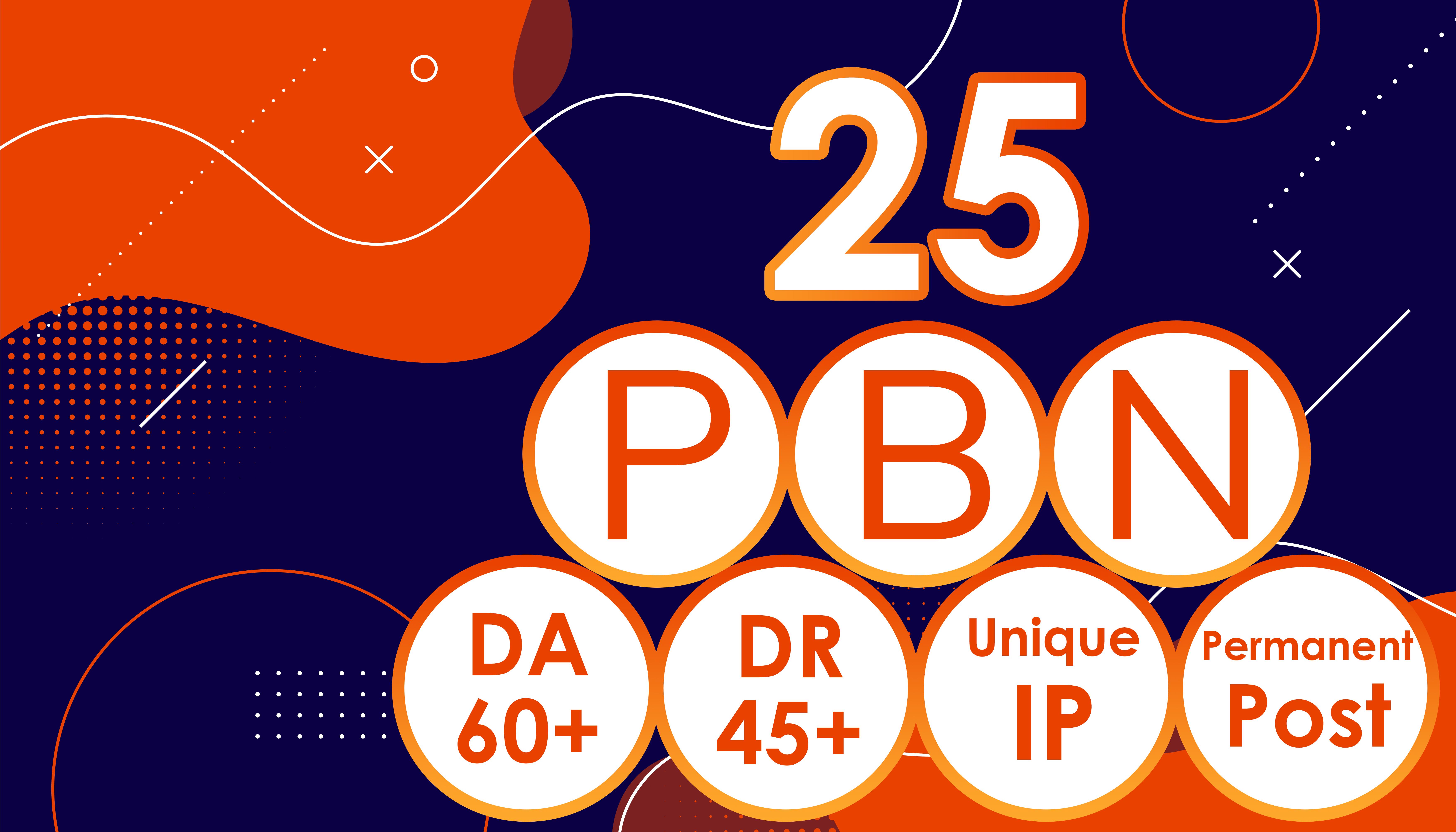 Get 25 High Authority PBNs DA-60+ DR-45+ Permanent Post Dofollow Contextual Backlink