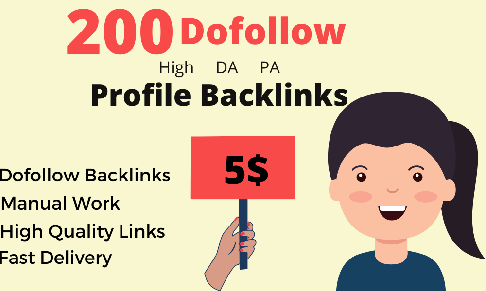 I will do 200 high da profile backlinks manually