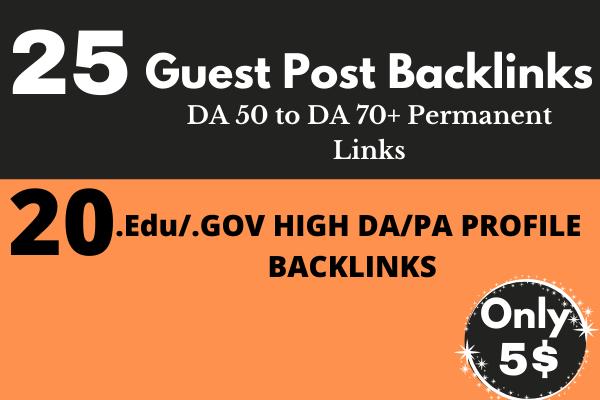 25 Guest Post Backlinks DA 50 to DA 70+ 20 Edu/Gov Pr9 High Authority Profile Backlinks