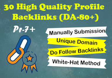 I will Create 30 High Quality Do-follow manually Profile Backlinks