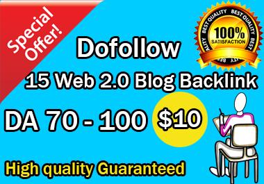 I Will build 15 high DA web 2.0 blog backlinks manually for SEO ranking