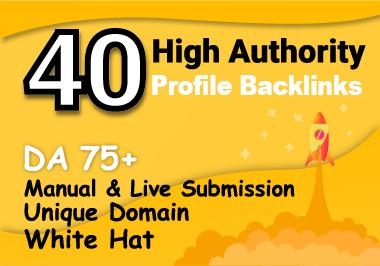 I will Create manually 40 Do-Follow High DA & PA Profile Backlinks