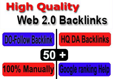I will Create 50 High DA PA Web 2.0 Backlinks Rank on Google 1st page