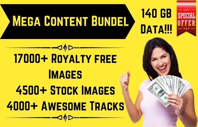 I will give you 17000 royalty free images, 4500 stock videos, 4000 tracks