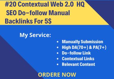 I Will Build 20 Contextual Web 2.0 High Quality SEO Do-Follow Manual Backlinks