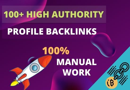I will do 100+ high authority profile backlinks manually for SEO ranking