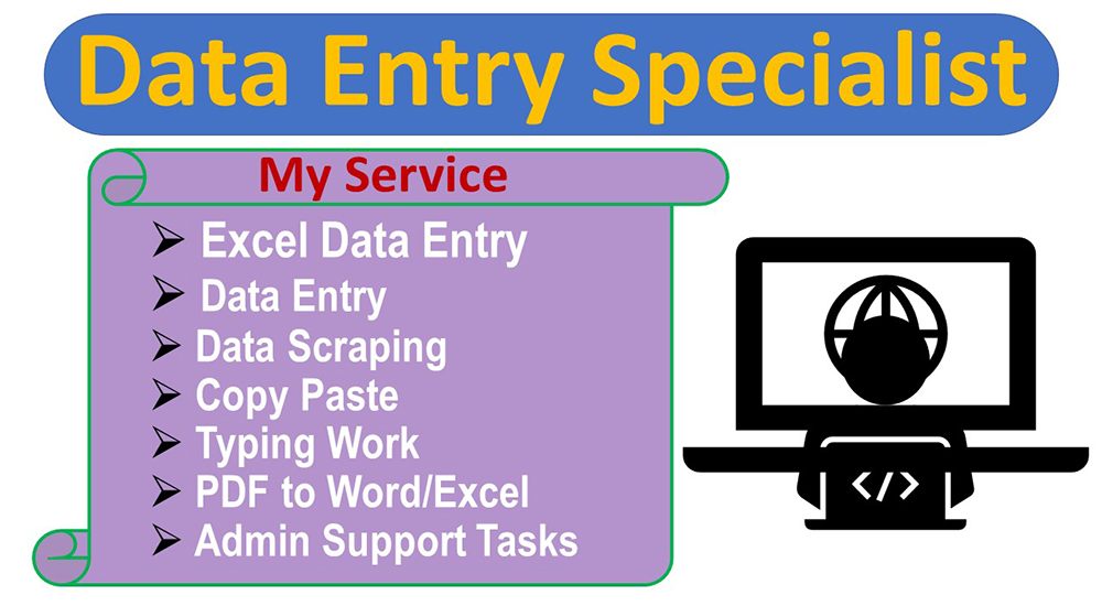 I will do any type of data entry job Professionally