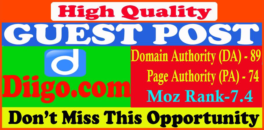 Write and publish guest post on Diigo. com DA90 with permanent backlinks