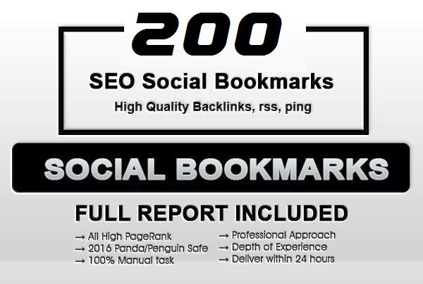 Add your site to 200+ SEO social bookmarks High Quality backlink,  rss and ping