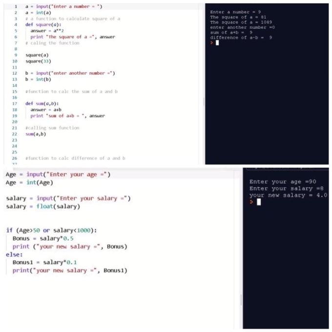 I will write simple python codes