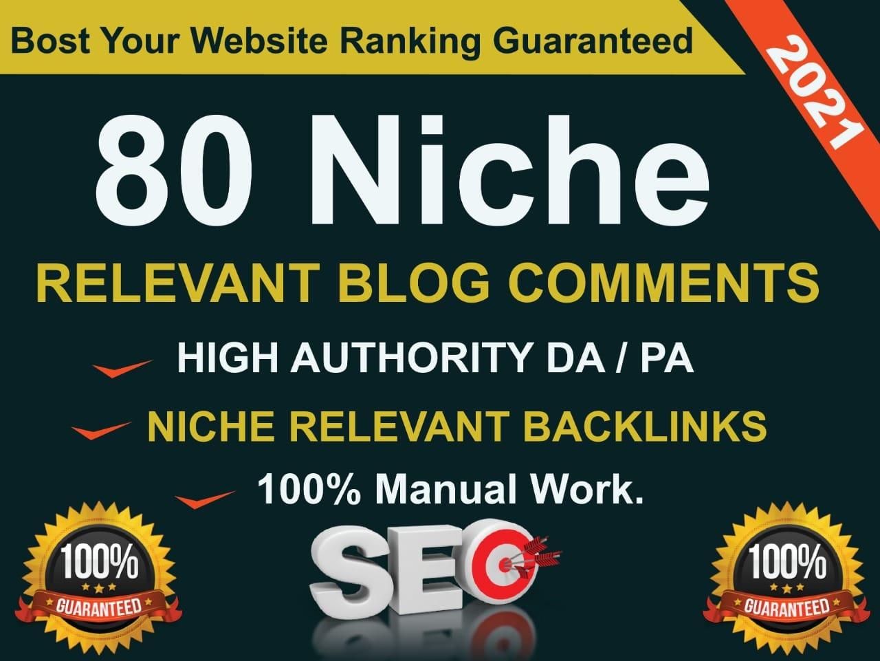 I will do 80 niche relevant blog comment backlinks