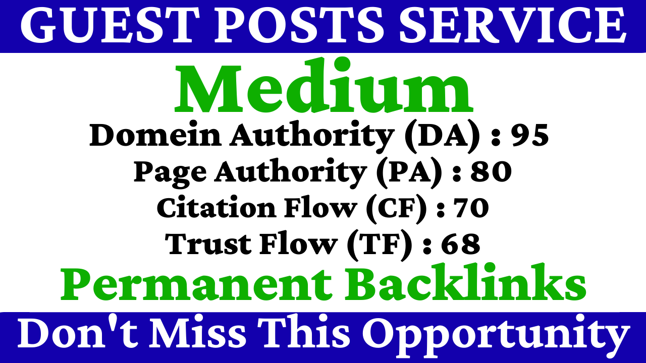 Write And Publish A Guest Post On Medium DA 95,  PA 80 With Permanent Backlinks Boost Your Site