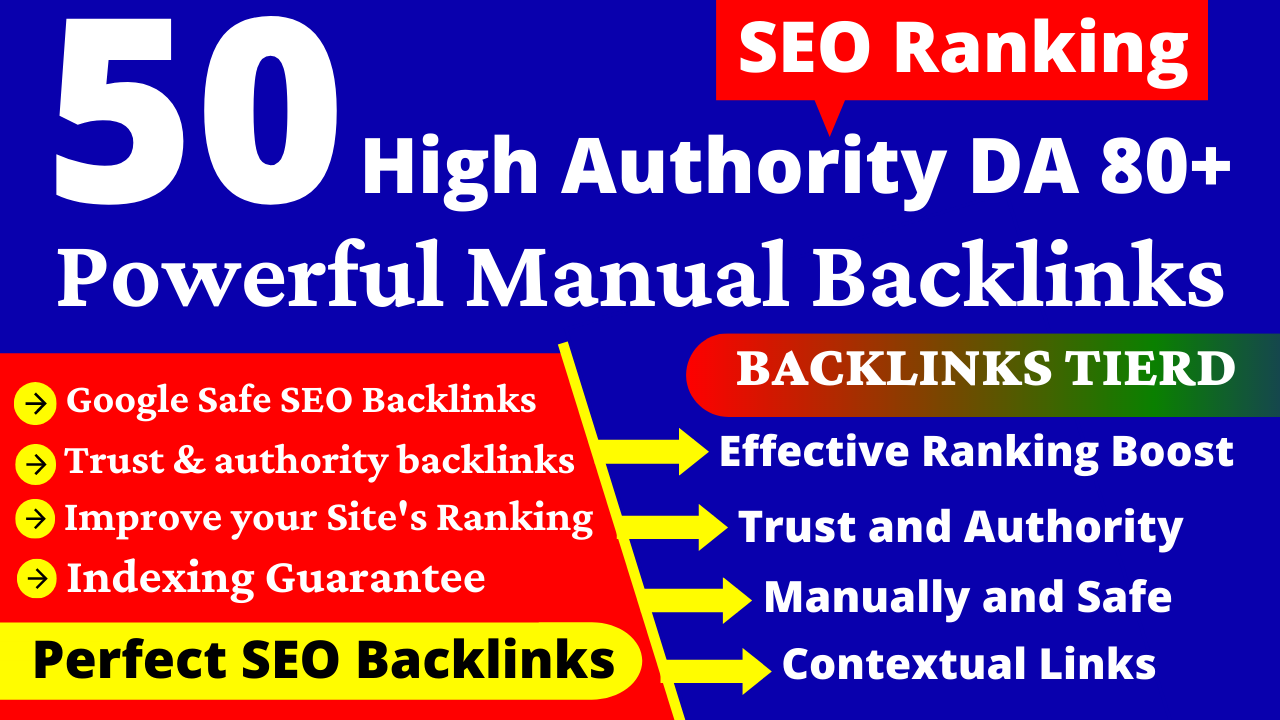 50+ High Authority Dofollow Backlinks. EDU,  Web2,  Homepage PBN,  Profile & Link Building Service