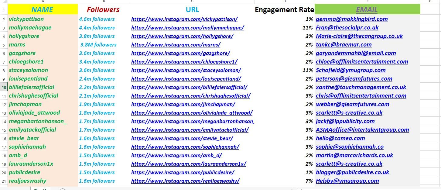 I will find targeted Instagram,  tiktok,  twitter, facebook,  youtube influencer list
