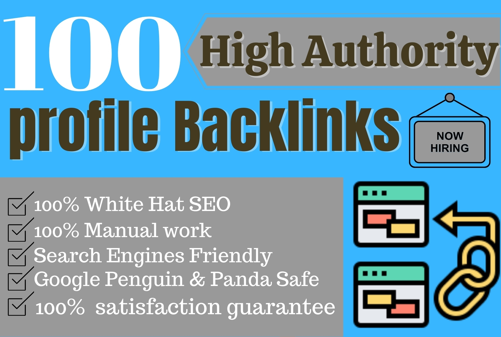 I Will Manually Create 100 Profile Backlinks With High Authority site.