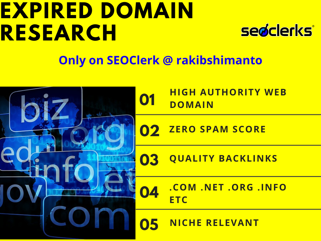 I will find high authority expired domain name research