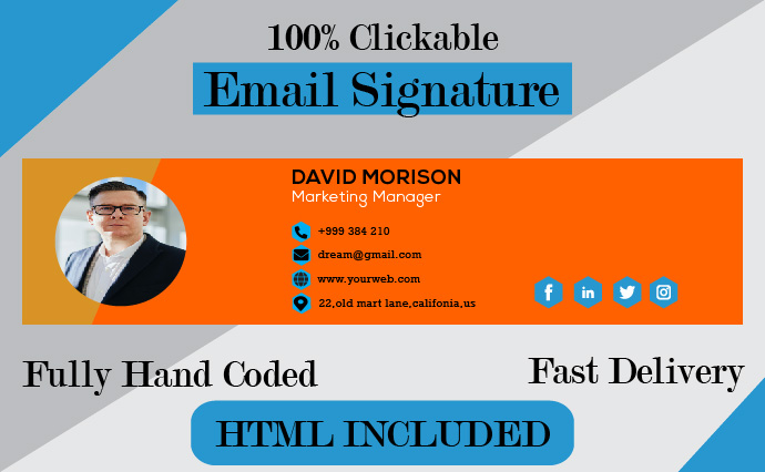 I Will Create and Revemp Professional Clickable HTML Email Signature