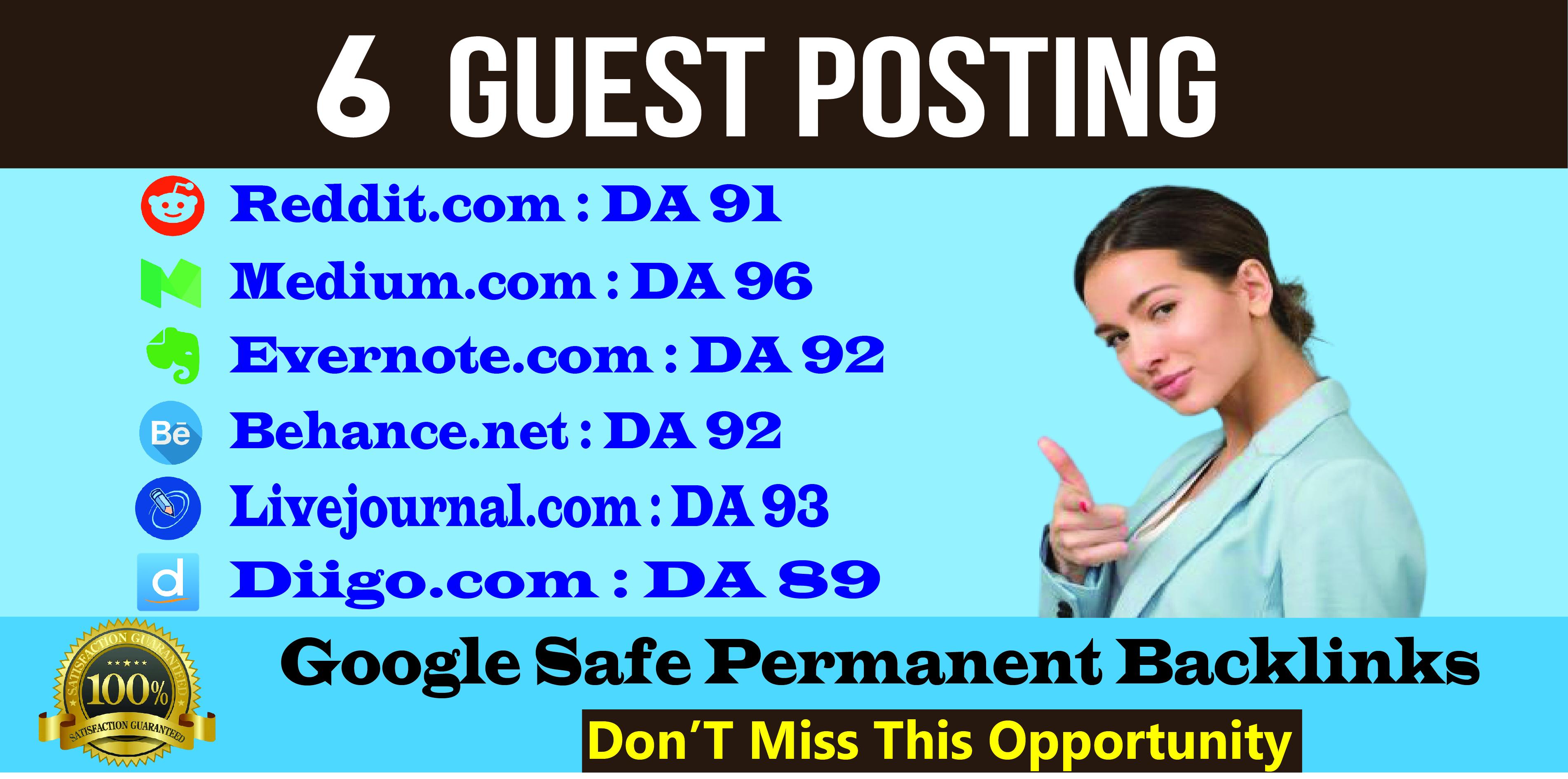 Build 6 SEO Backlinks Through High DA Guest Posts High Authority Link Building