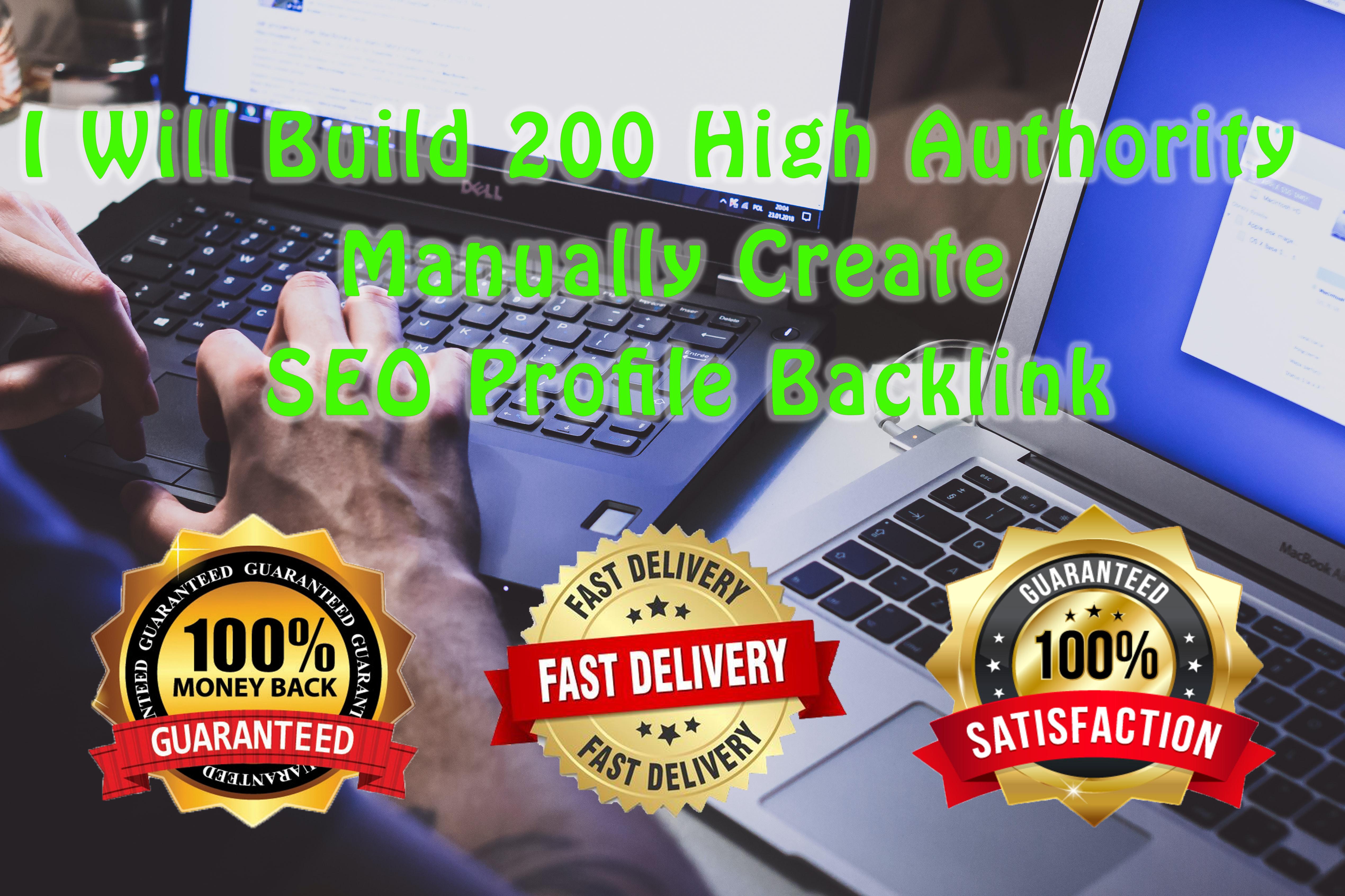 I Will Build 200 High Authority Manually Create SEO Profile Backlink