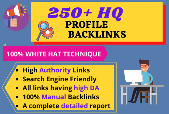 I will do 250 high domain authority profile backlinks for seo