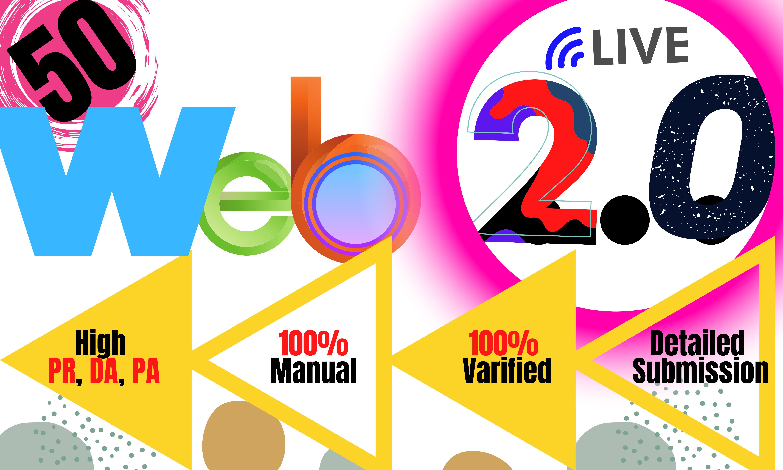 I will do SEO friendly 50 high rank web 2.0 profile backlinks manually