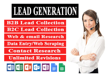 I will do 100 lead generation and web research for you business